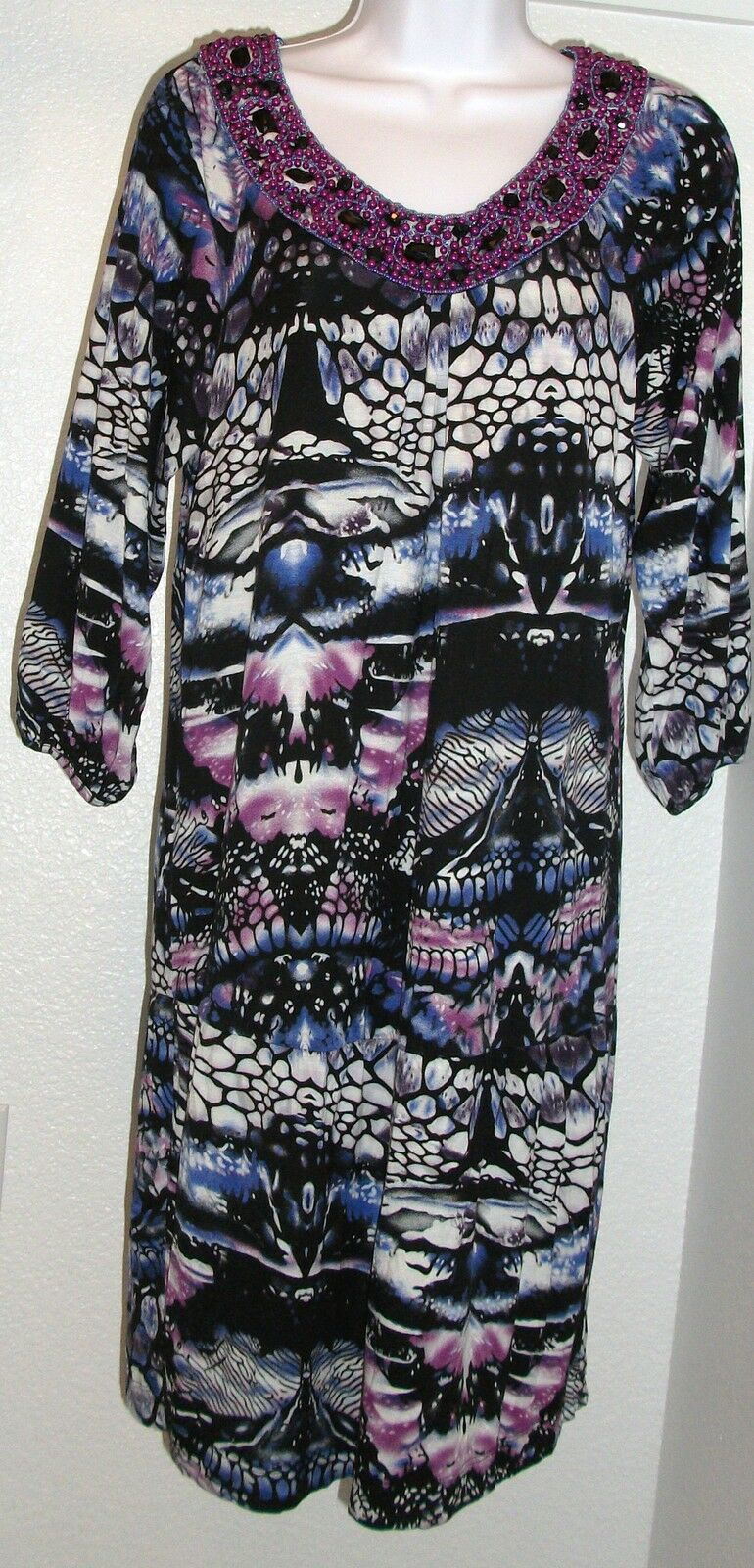 NWOT Genuine greenIGO Paris Paris Paris beaded 3 4 sleeve purple shades dress, size L 975a22
