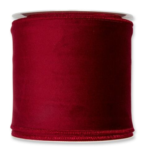Borgoña Rojo Navidad Tejido De Terciopelo Cinta de 100mm de ancho en 8m Rollo por cable borde