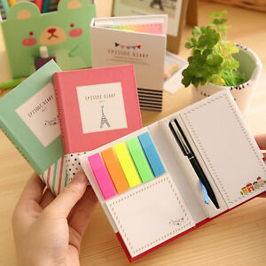 Sticker-Set-Bookmark-Notepad-Marker-Memo-Flags-Sticky-Notes-Book-With-Pen-Hot