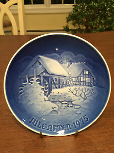 Vintage 1975 BING & GRONDAHL B&G Blue/White Christmas Collectors Plate Denmark