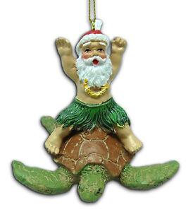 image is loading hawaiian christmas ornaments santa claus surf turtle poly