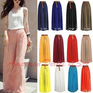 Women-Double-Layer-Chiffon-Pleated-Retro-Long-Maxi-Dress-Elastic-Waist-Skirt