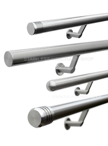 Satin-Polish Brushed Stainless Steel Stair Handrail with Classic Domed End Caps Pre-assembled Select Length
