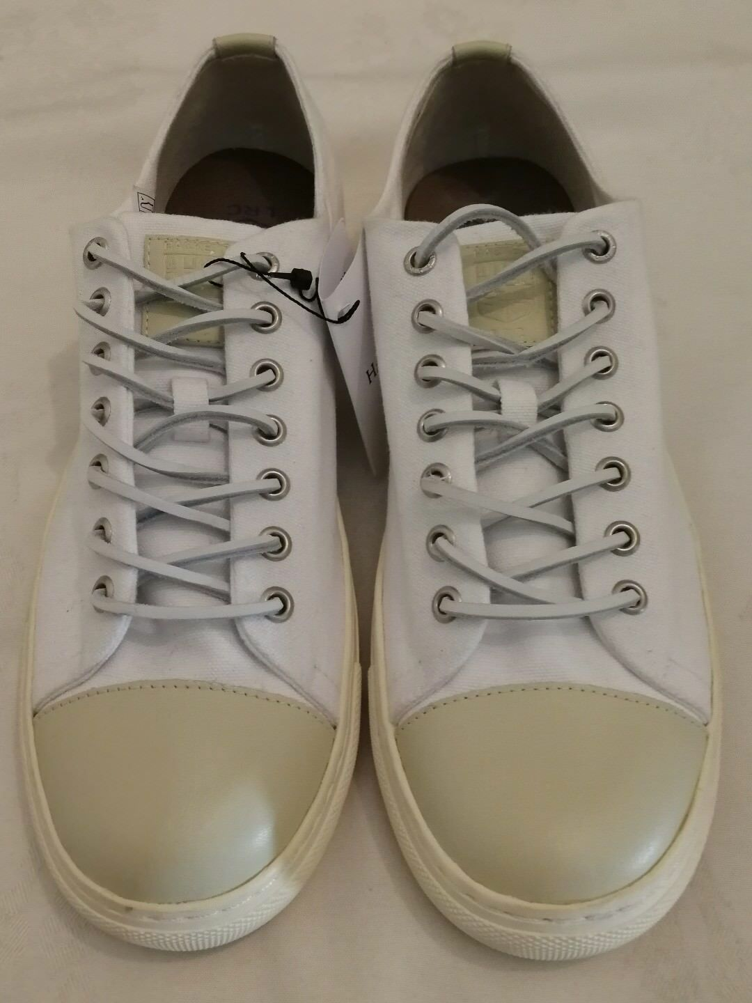 HACKETT LONDON LRC Fashion Toe Cap Lace-up Canvas Sneakers Weiß Größe uk 9 eu 43