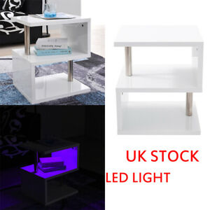 Details About Modern Design White High Gloss Coffeeside Table With Blue Led Lights Furniture