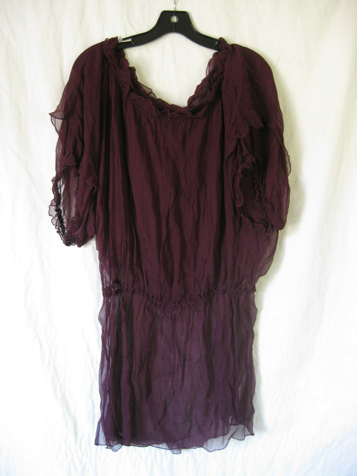 Lip Service Rokara Oversized Off Shoulder Burgundy Silk Dress Tunc L XL XXL
