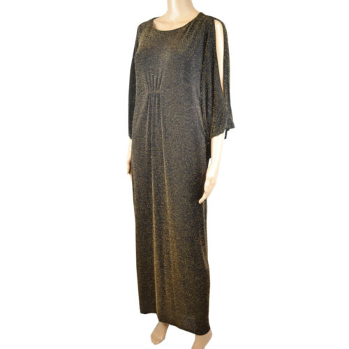 Ex M/&S Sparkle Metallic Split Sleeve Maxi Dress Black// Gold /& Pink *sizes 10-22*