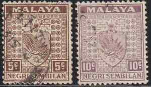 MALAYSIA-MALAYA-NEGERI-SEMBILAN-1935-5c-amp-10c-BOTH-USED