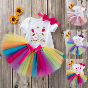 6bb2588fad8fd Toddler Newborn Baby Girls Letter Romper +Rainbow Tutu Dress Outfits ...