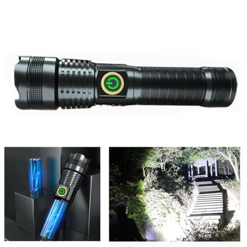 Zoomable 1000000 LM XHP70 LED Ultra Bright 26650 Powerful USB Flashlight Torch