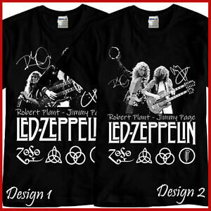 Robert Plant Jimmy Page Rock Band Tribute Black T-Shirt TShirt Tee Size S-3XL