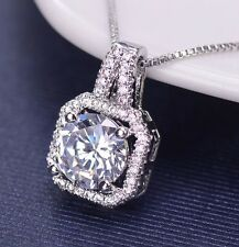 "Womens Halo Crystal CZ Platinum Silver Bridal Gift 20"" Chain Pendant Necklace"