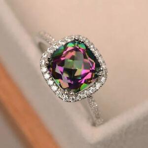 Women Fashion 925 Silver Jewelry Wedding Rings Round Cut Mystic Topaz Size 5-10