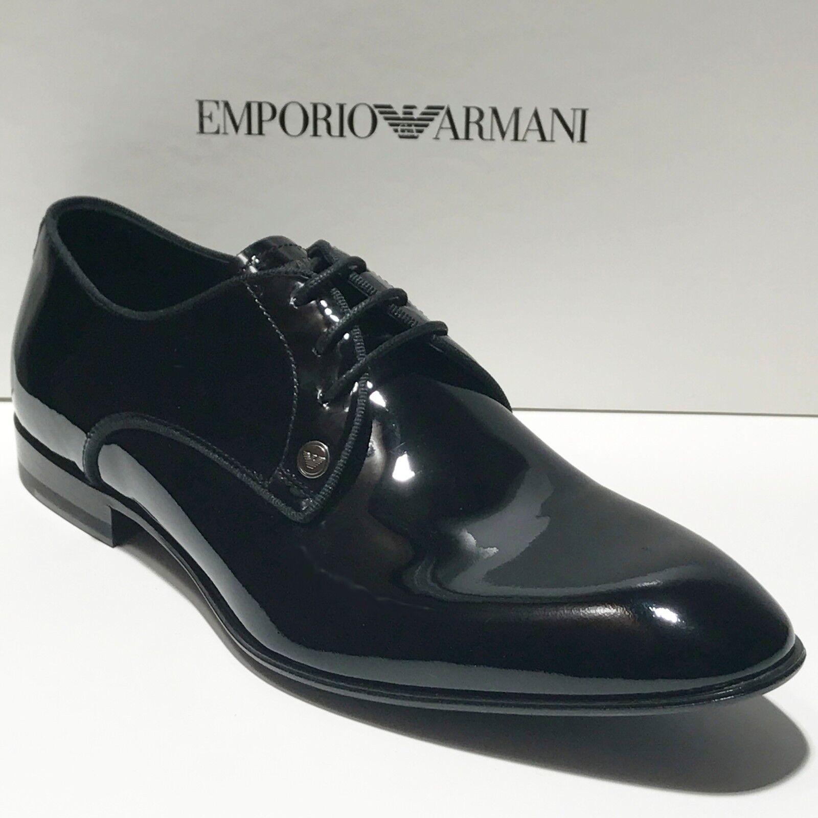 New Emporio Armani nero Patent Leather  Tuxedo Dress Oxford Formal Men's scarpe  spedizione gratuita in tutto il mondo