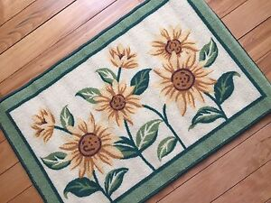 Country Yellow Sunflower Woven Rug Bright Kitchen Rug Small Accent