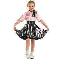 Kids Girls 50s 1950s Rock n Roll Poodle Fancy Dress Costume 50's Outfit New