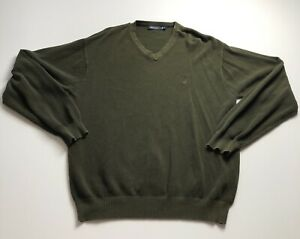 Nautica-Men-s-XL-Extra-Large-Dark-Green-Basic-V-Neck-Sweater-Shirt-Long-Sleeves