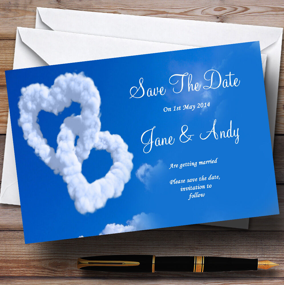 Romantic Heart Clouds Sky  Personalised Wedding Save The Date Cards
