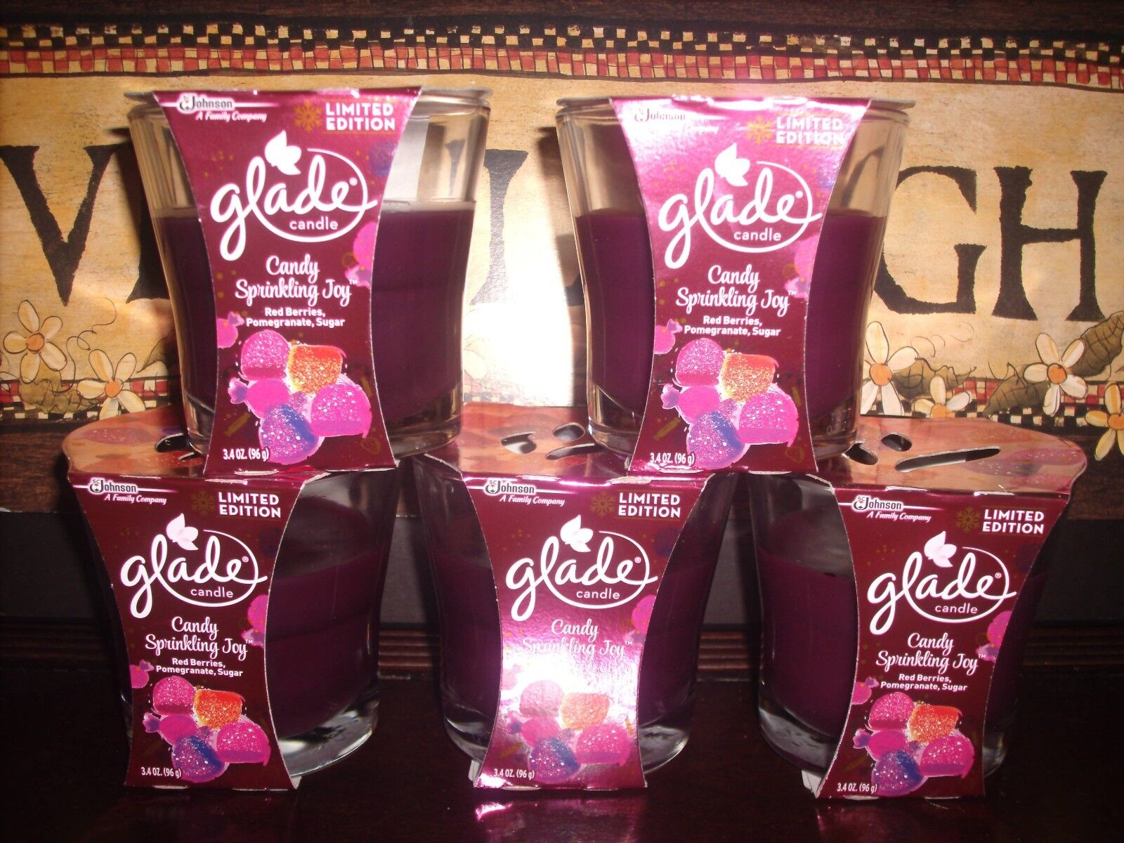 CANDY SPRINKLING JOY 5 Glade Jar Glass Holiday Candles 3.4 oz each Candle