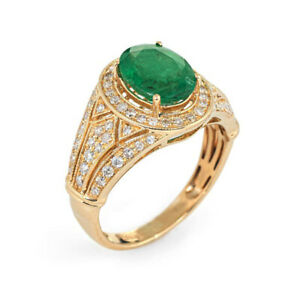 1-80ct-NATURAL-ROUND-DIAMOND-EMERALD-14K-YELLOW-GOLD-COCKTAIL-RING-SIZE-7-TO-9