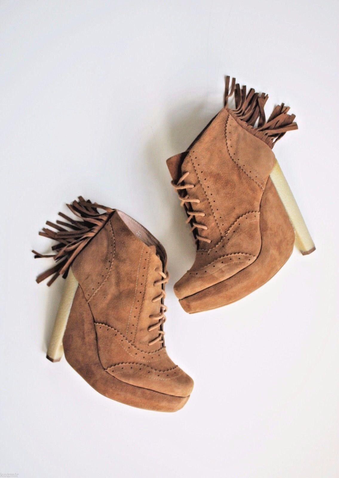 presentando tutte le ultime tendenze della moda Anthropologie scarpe PLOMO CELIA FRINGE FRINGE FRINGE avvioIES  319 Tan Suede 70s Boho Heels 7.5  risparmiare sulla liquidazione