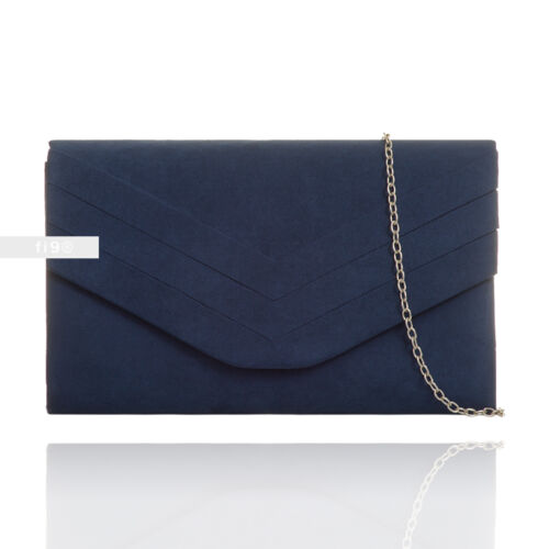 New Navy Suede Wedding Ladies Party Prom Evening Clutch Hand Bag Purse HandBag
