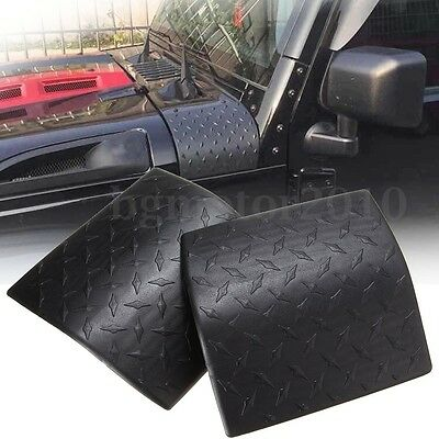 2x Black Cowl Body Armor Cover Diamond Plate Trim For 07-17 Jeep Wrangler JK