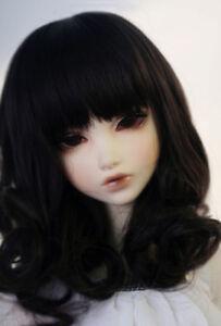 """8-9/"""" 1//3 BJD Medium Long Black Curl Roll Wavy Wave Wig Doll Hair Elegant"""