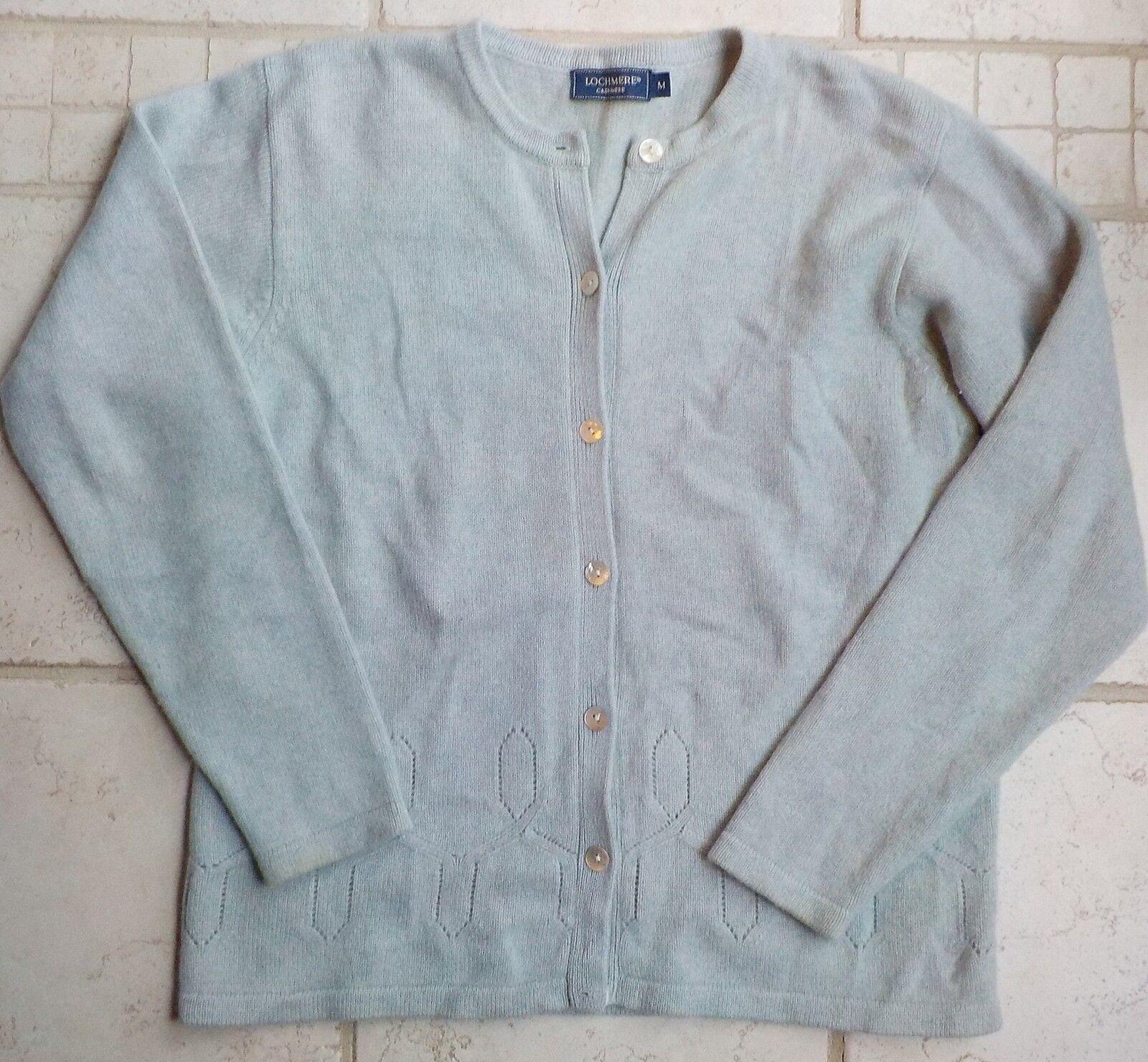 LOCHMERE Luxuriously Soft Light bluee 100% Cashmere Cardigan Medium