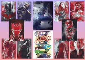 Avengers Endgame Iron Man Thor Hulk Black Widow A5 A4 A3