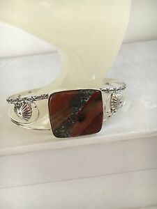 Red-Jasper-amp-Silver-Overlay-Bangle-Bracelet-Adjustable-22cm-Gemstone-Jewellery