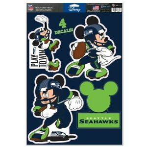 aa05ca541b0 SEATTLE SEAHAWKS 4 PIECE MICKEY MOUSE DECALS 11