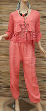 LAGENLOOK LINEN AMAZINGQUIRKY 2 PCS LACE JACKET/OVERTOP+TROUSERS*CORAL*SIZE L