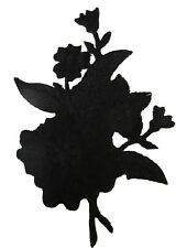 #3820B Black,Grey,Silver Wild Flower Embroidery Iron On Appliqué Patch