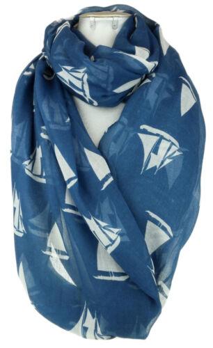 Ladies Boats Print Scarf Soft Oversized Chiffon Summer Sea Inspired Shawl Neck
