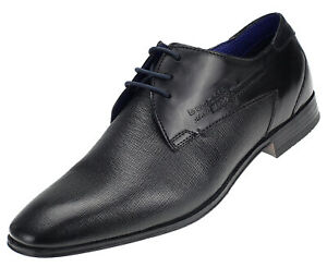 Details zu Bugatti Herren Business Schuhe Leder Derbys Halbschuhe Schnürer 10108 Schwarz