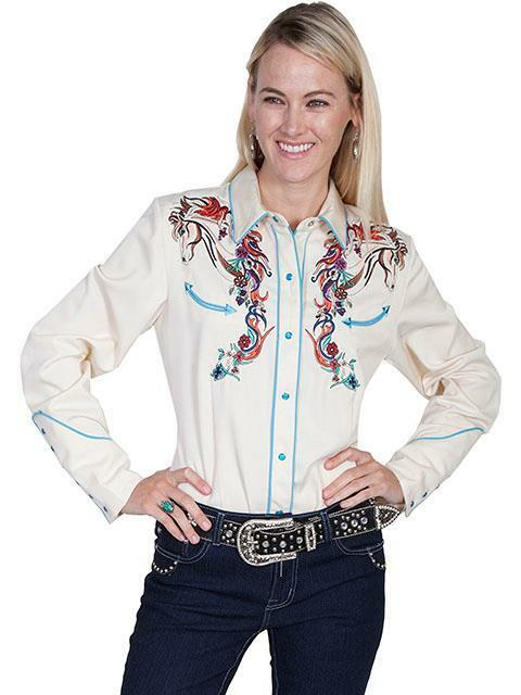 Scully Western damen Shirt Snap Embroidery Horse Floral Cream PL-856C