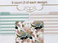 C.r. Gibson Set Of 9 Decorative Letter File Folders Floral Pastel Stripes