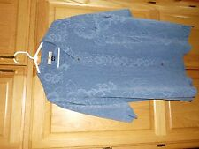 100% silk Tommy Bahama Men's Hawaiian print Button-front Silk Shirt SZ L Blue