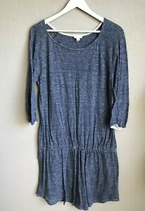 Soft-Joie-Dress-Analee-Drawstring-Waist-3-4-Sleeve-Large-Blue-Cotton