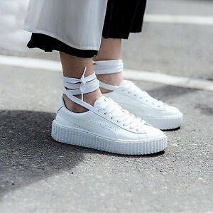Puma Rihanna fenty Creepers US UK 5 6 7 7.5 8 9 10 .5 bianco brevetto Creeper Cuore