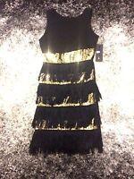 Femme Robe De Soiree Moulante Charlestone Noir Et Or Sequin Taille Unique