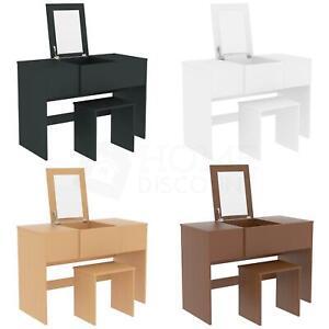 Details zu Schminktisch Klappspiegel mit Stuhl-Set Hocker Schlafzimmer  Make-up Schreibtisch