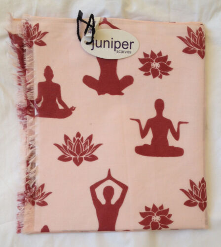 ROSE YOGA AND LOTUS FLOWER PRINT SCARF BY JUNIPER IN COTTON