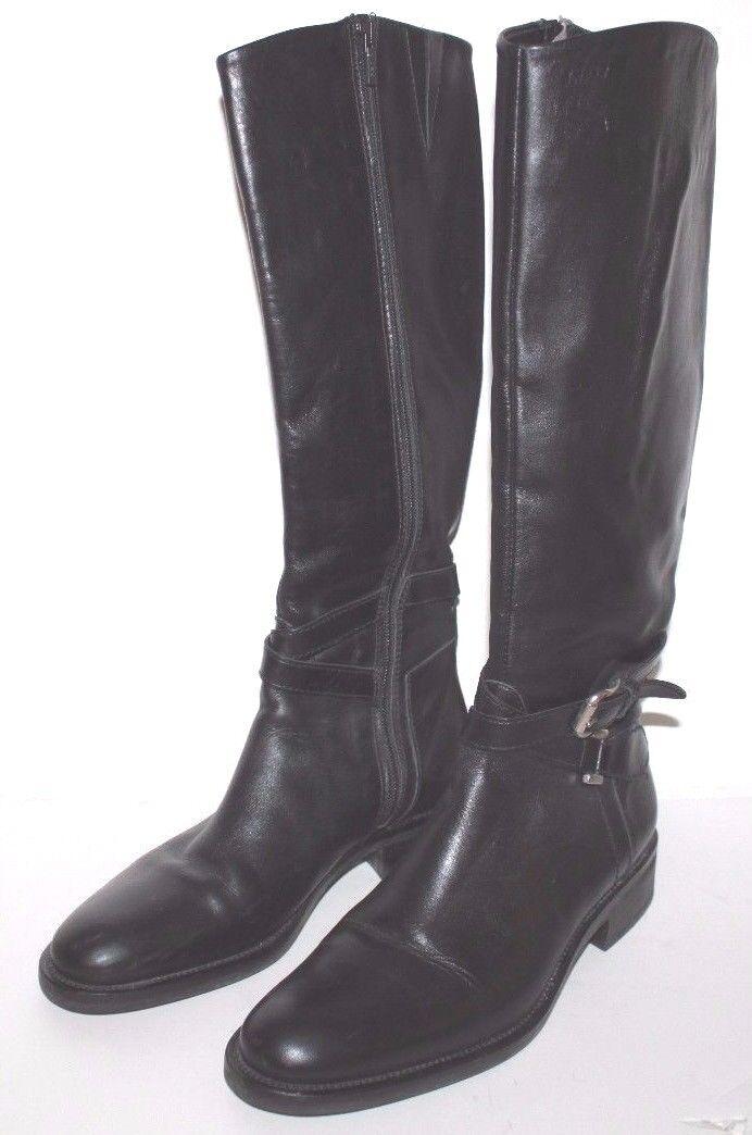 Geox Extra Usado en excelente condición para mujer 7.5 M De Cuero Negro botas De Montar