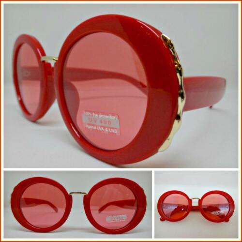 Classy Elegant Trendy Vintage Retro Luxury Style SUNGLASSES Round Red Frame Lens