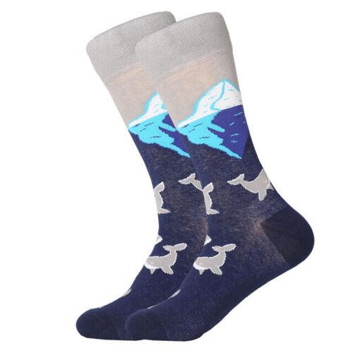 Mens Combed Cotton Socks Funny Cartoon Fruit Sea Food Flower Casual Dress Socks