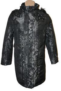 Black W Fur Aftagelig Large Coat Trim Silver Hood Størrelse In Faux Klass qW67fnxP