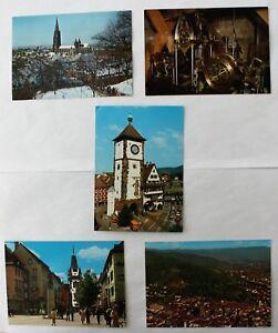 5-Assorted-German-Postcards-Freiburg