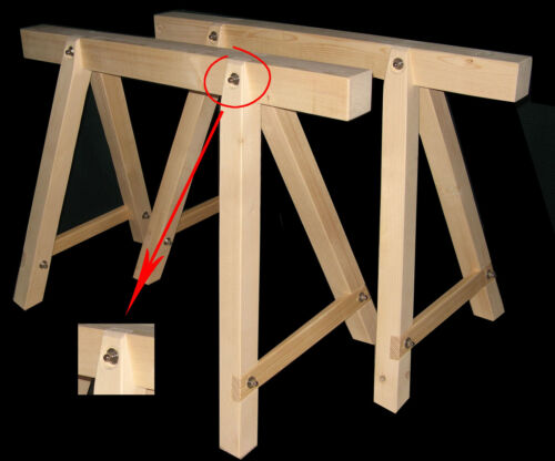 2 neue Holzböcke,Arbeitsbock,Stützbock,Montagebock,Gerüstbock Steinmetzwerkzeug